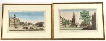 Two Colored Engravings, Amsterdam Street Scenes