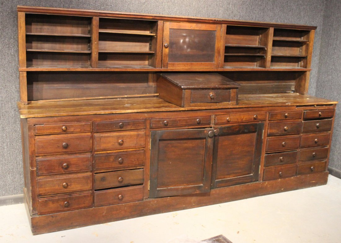 Pine and Walnut Store Display Counter