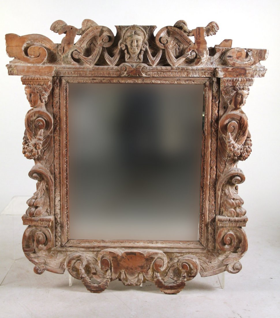 Baroque Style Pickled Oak Mirror