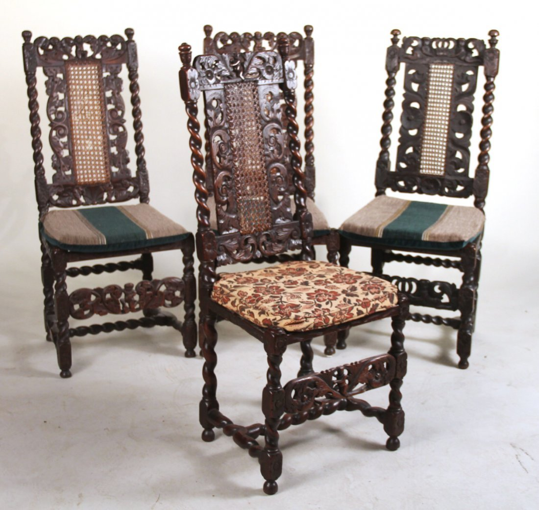 Four Baroque Carved Oak Side Chairs