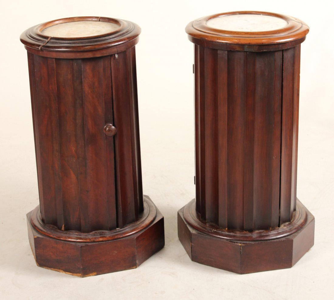 Two Victorian Marble Inset Mahogany Pot Cupboards