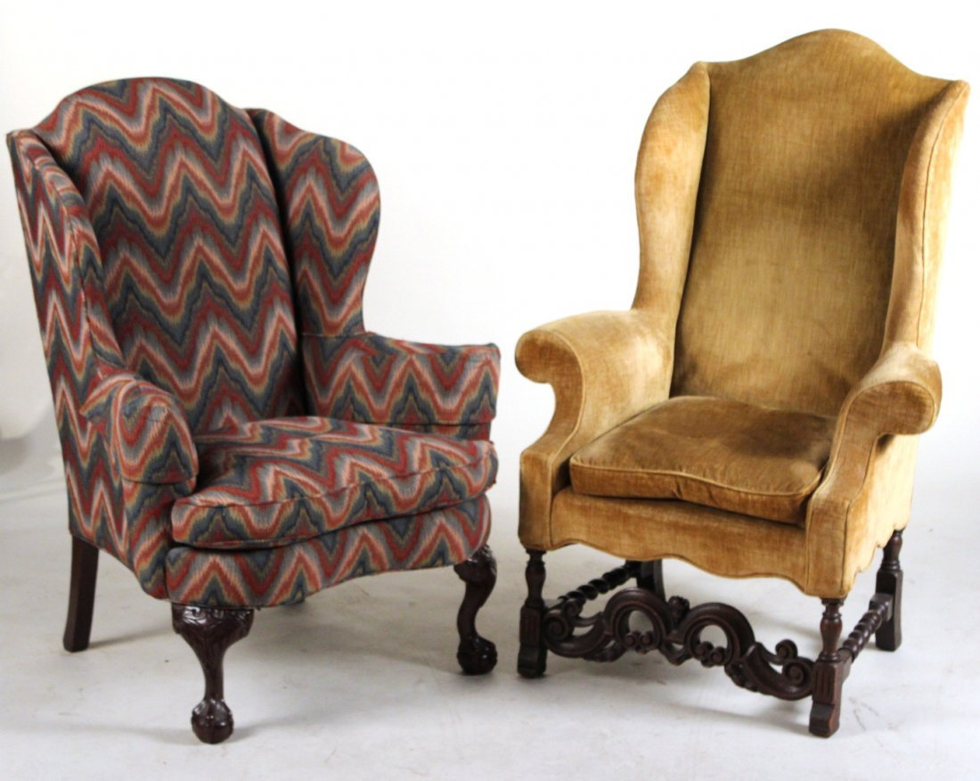 Baroque Style Carved Oak Wing Chair