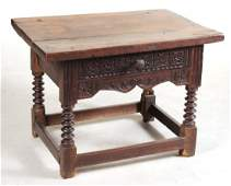 Baroque Style Carved Oak Side Table