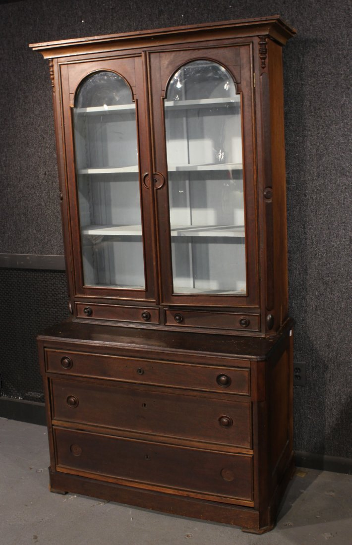 Victorian Walnut Bookcase Secretary