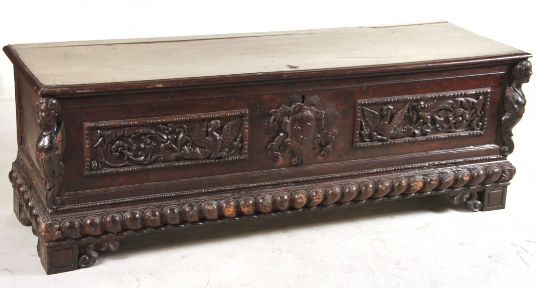 Baroque Style Carved Oak Cassone