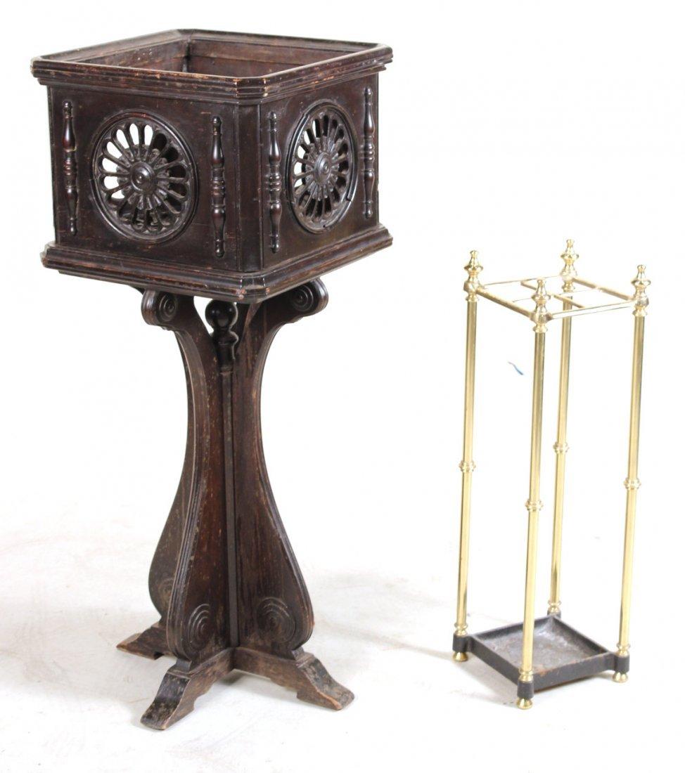 Baroque Style Mahogany Plant Stand