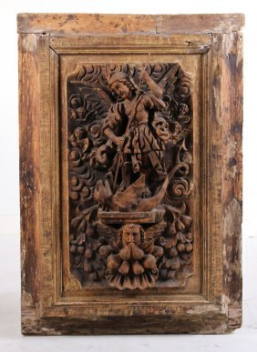 Carved Wood Figural Wall Panel
