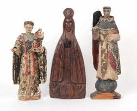 Two Religious Carved Wood Santos Figures