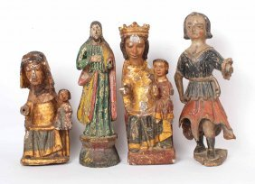 Four Polychrome Carved Wood Santos Figures