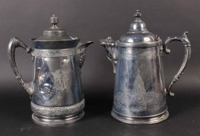 Pair Of Silver Plated Covered Tankards