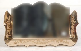 Art Deco Etched Glass Framed Mirror