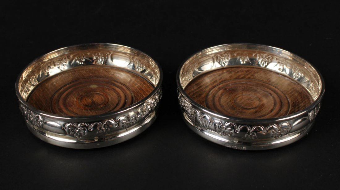 Pair of English Silver Wine Coasters