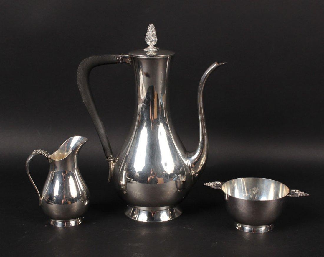 Three Piece Tiffany Sterling Silver Tea Service