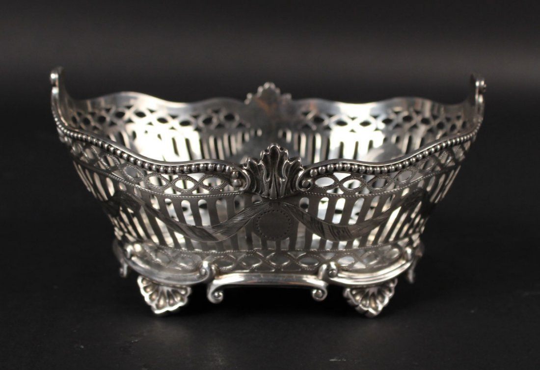 English Silver Oval Footed Basket