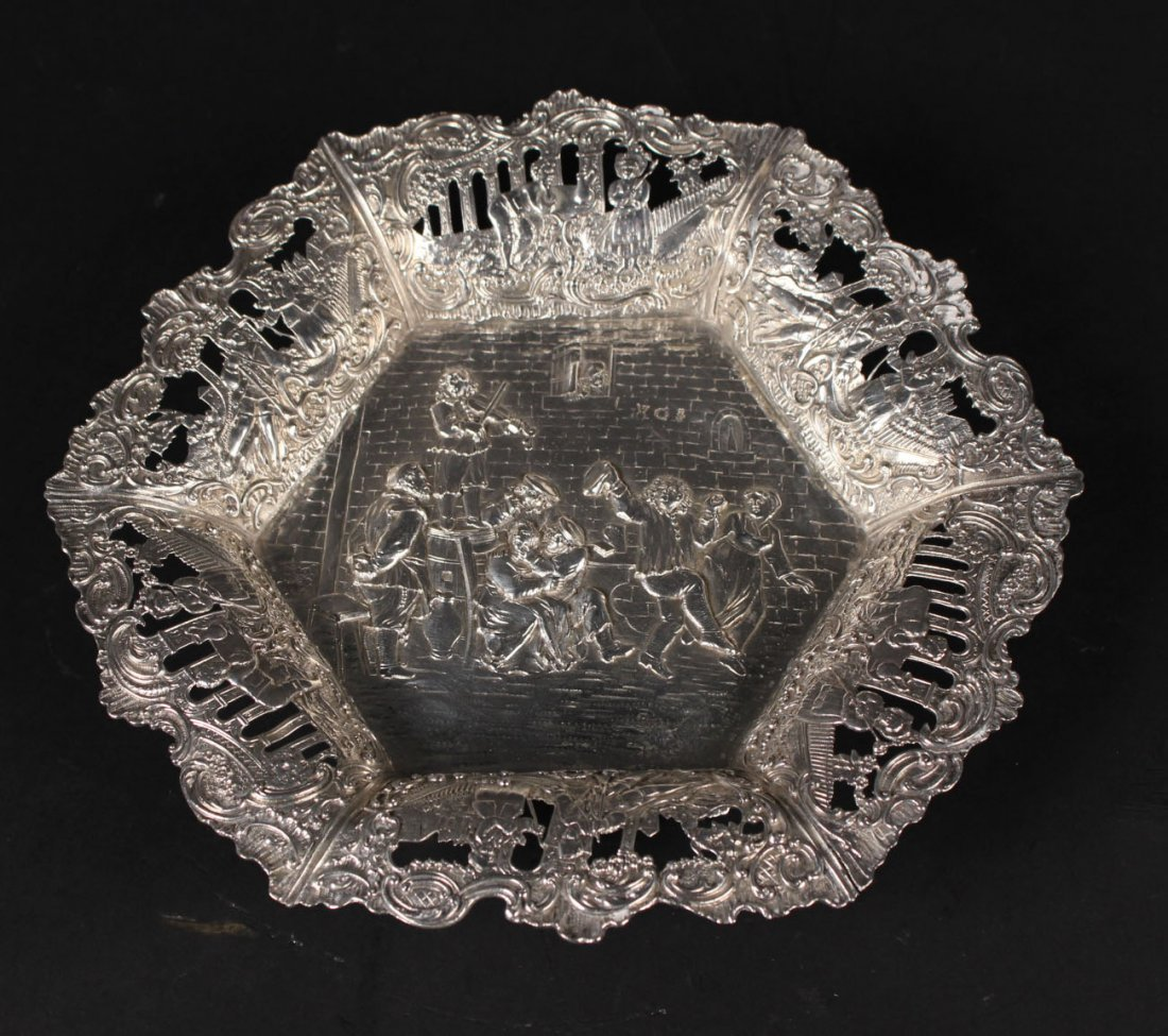 Continental Silver Chased Circular Footed Bowl