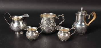 Five Sterling and Continental Silver Table Items