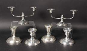 Three Pairs Weighted Sterling Silver Candlesticks