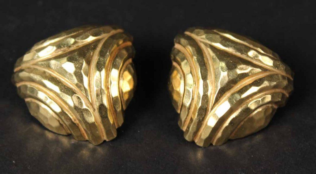 Pair of Henry Dunay 18K Yellow Gold Ear Clips