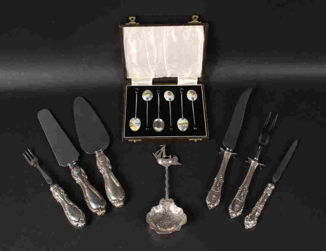 Boxed Set of Six English Silver and Enamel Spoons