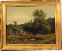 Oil on Canvas Farm Scene, Herman Herzog