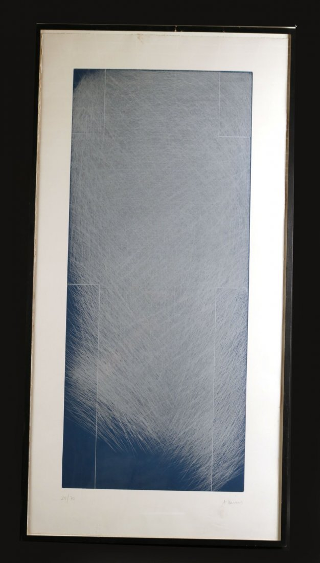 Etching, Silver Lines & Blue Paper, Arnulf Rainer