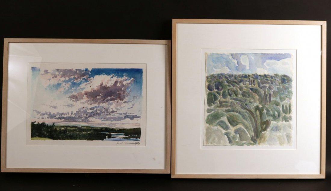 """Watercolor, """"Maine,"""" Rush Brown"""