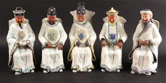 Five Chinese Ceramic Seated Men Figures