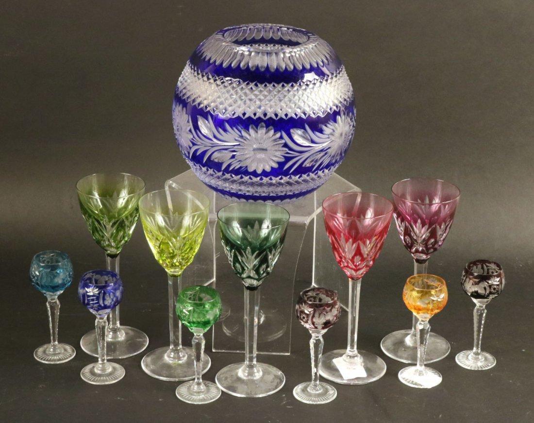 Five Val St Lambert Color Crystal Wine Glasses