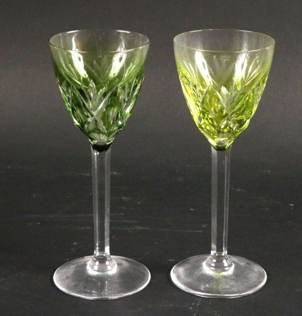 Five Val St Lambert Color Crystal Wine Glasses - 6