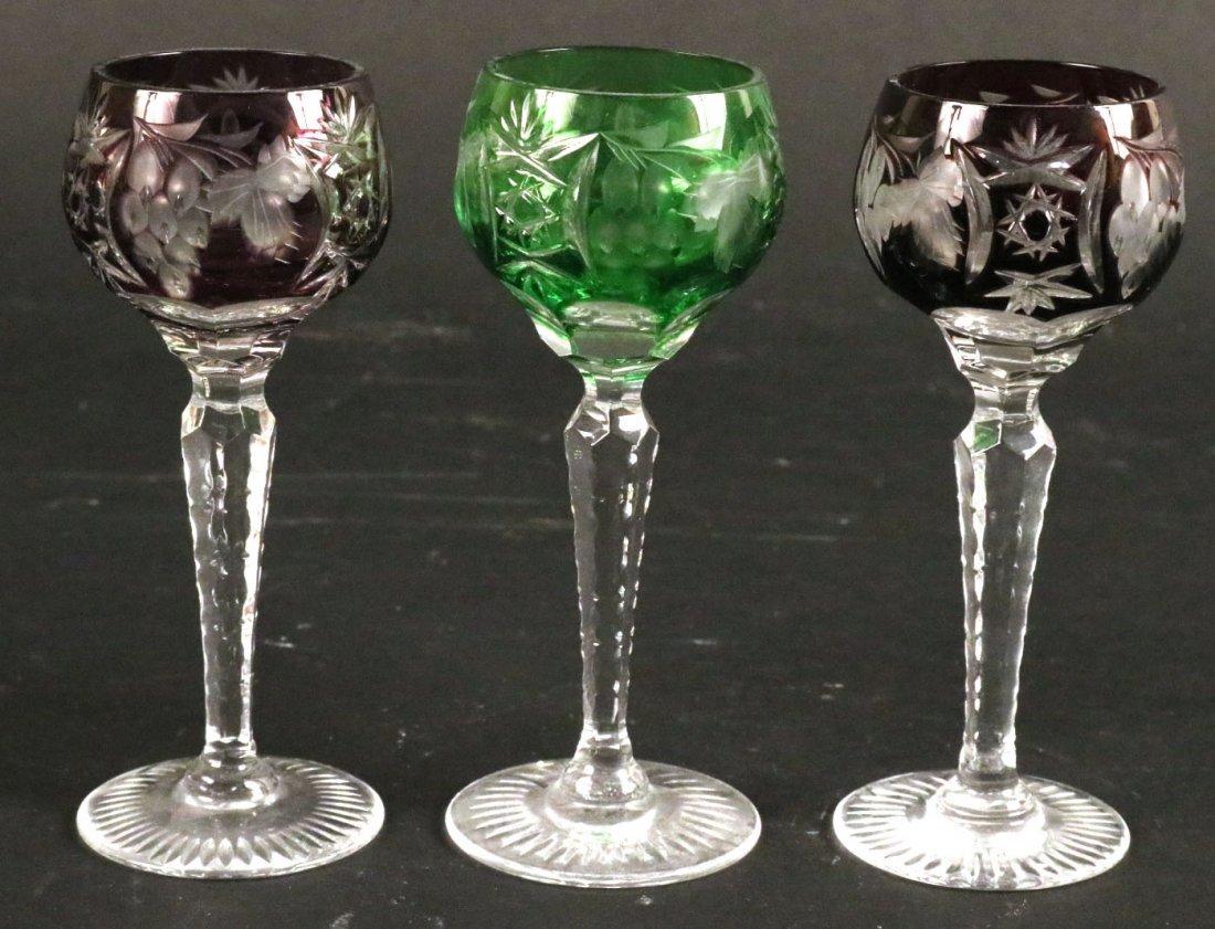 Five Val St Lambert Color Crystal Wine Glasses - 7
