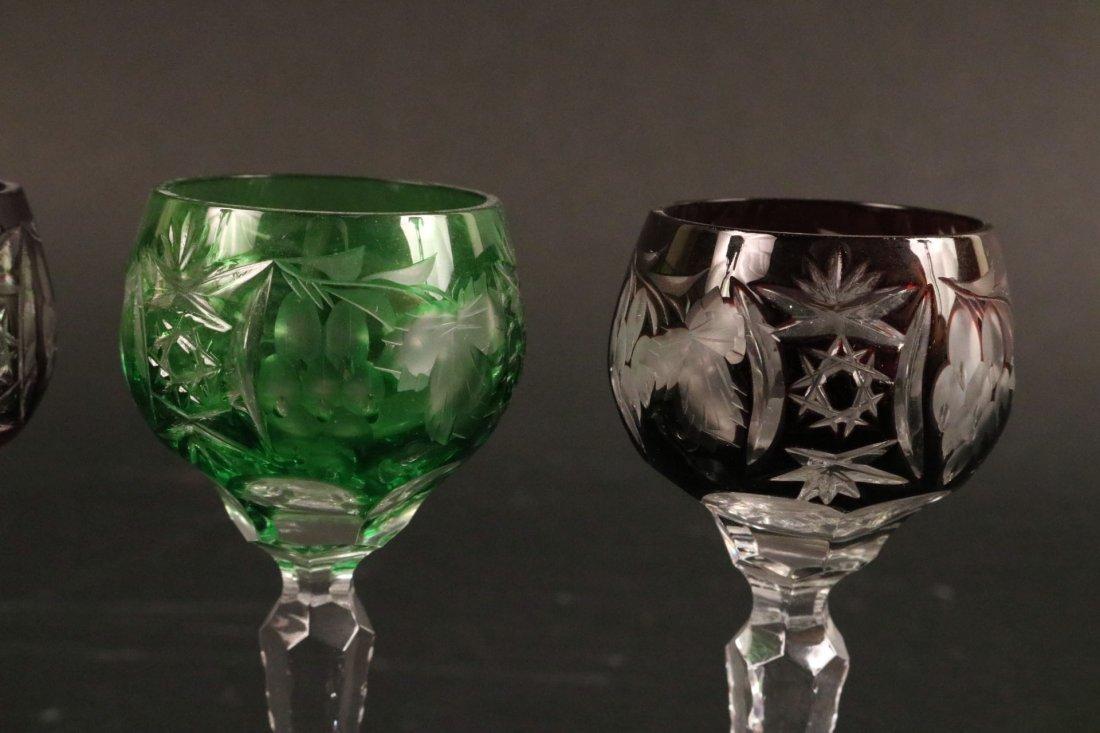 Five Val St Lambert Color Crystal Wine Glasses - 8