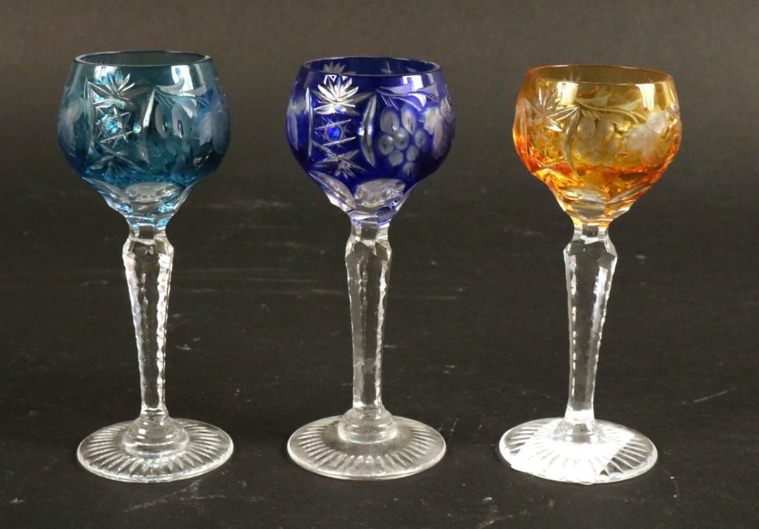 Five Val St Lambert Color Crystal Wine Glasses - 9