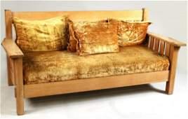 Arts & Crafts Style Oak Settee
