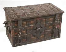Paint-Decorated Wrought-Iron Strongbox