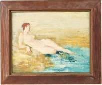 Oil on Board, Nude Woman on Beach