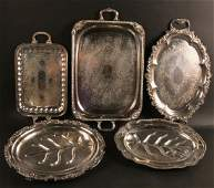 Three Silver Plated Double Handled Trays