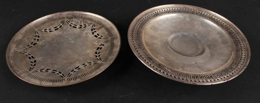 Two Sterling Silver Footed Cake Plates