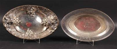 Two Sterling Silver Oval Bread Trays