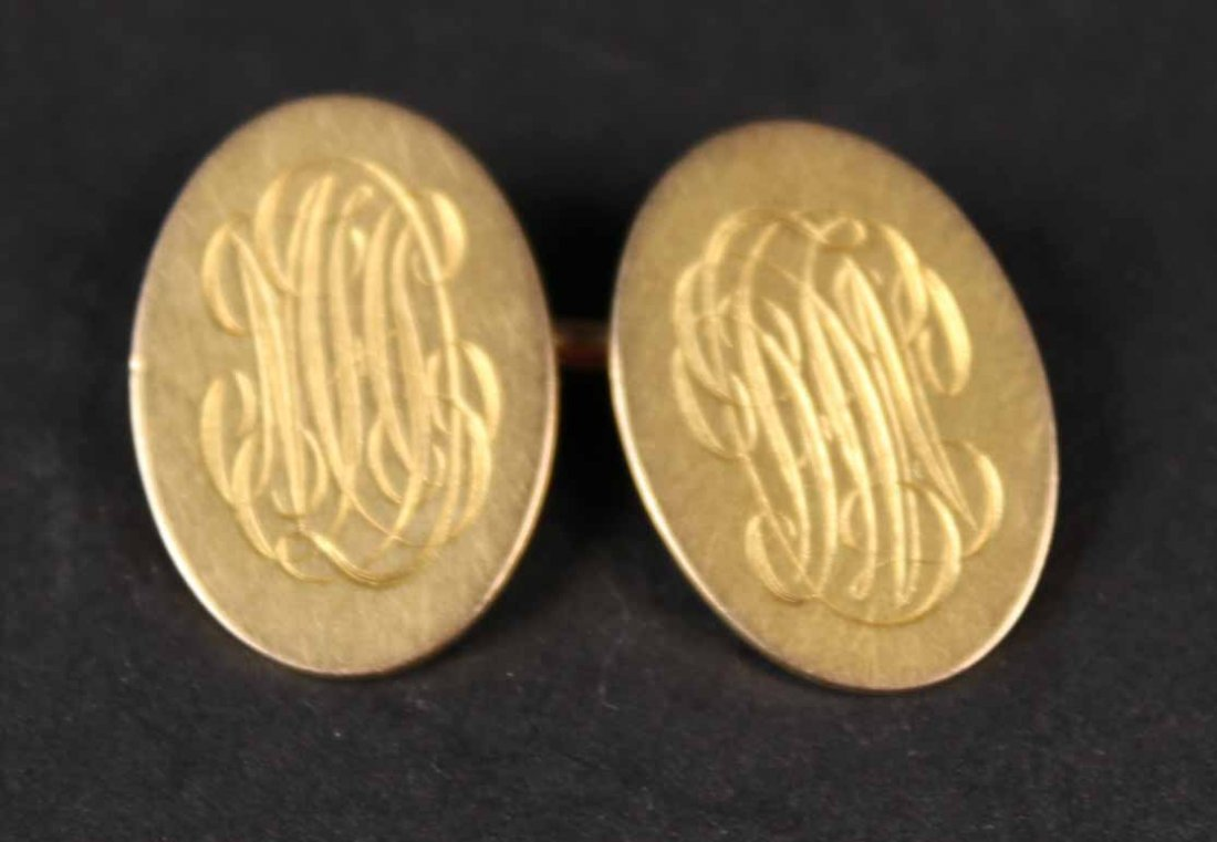 Tiffany & Co 18K Yellow Gold Oval Cuff Buttons - 2