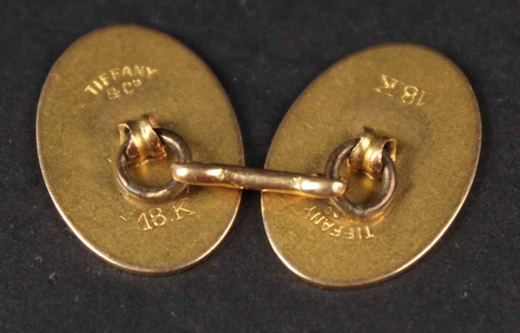 Tiffany & Co 18K Yellow Gold Oval Cuff Buttons - 3
