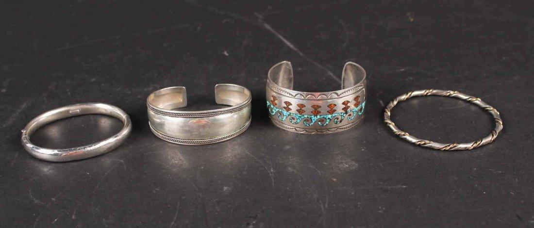 Four Sterling Silver Bangle Bracelets