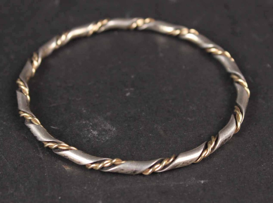 Four Sterling Silver Bangle Bracelets - 7
