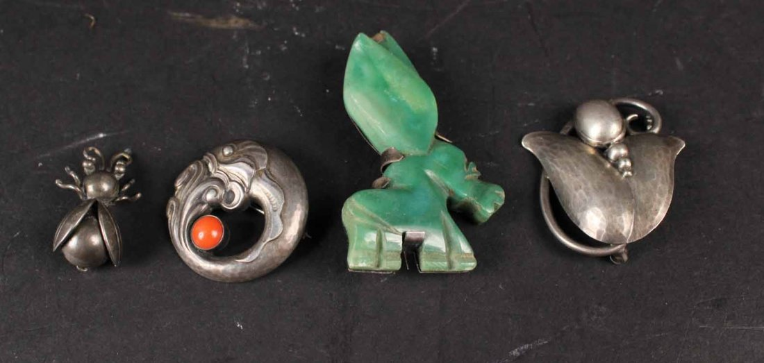 Two Georg Jensen Sterling Silver Brooches