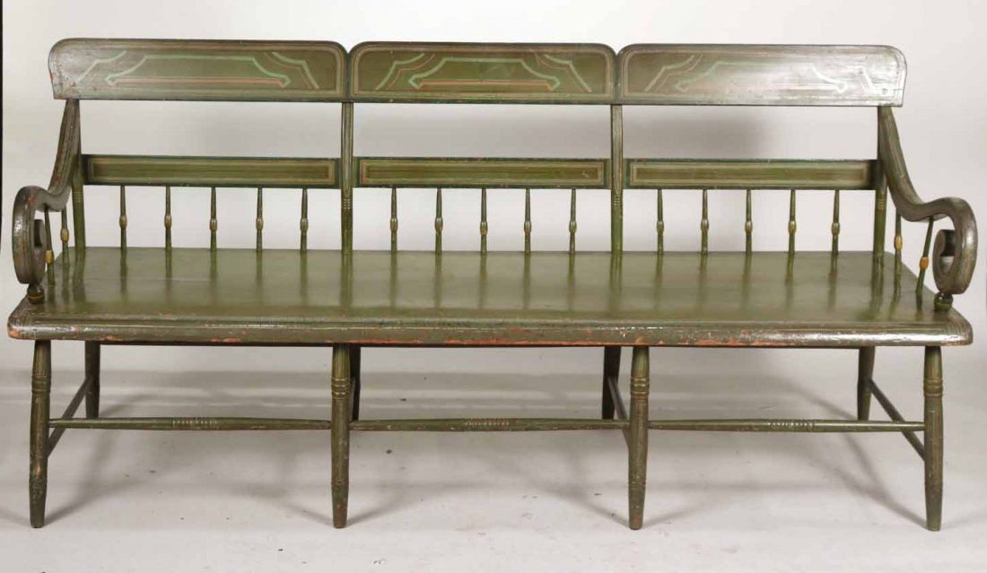 Federal Green-Painted Bench