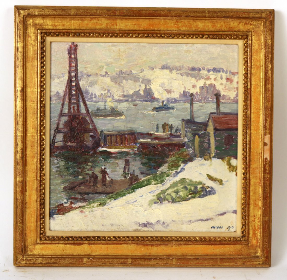 Oil on Board, Dock Scene, Leon Kroll