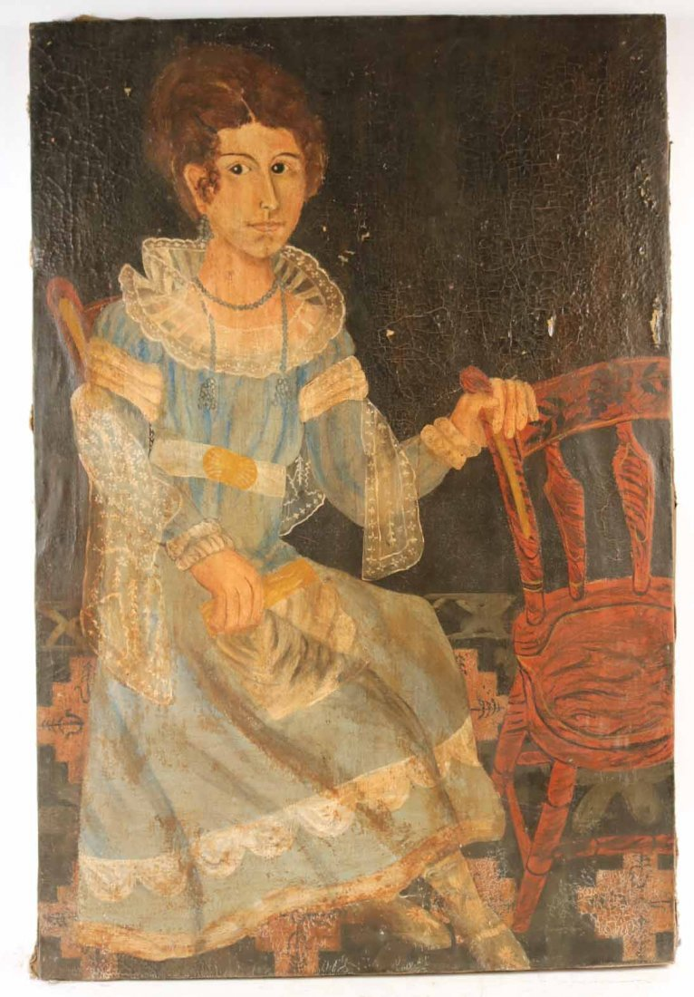 Oil on Canvas, Folk Art Portrait of Seated Woman