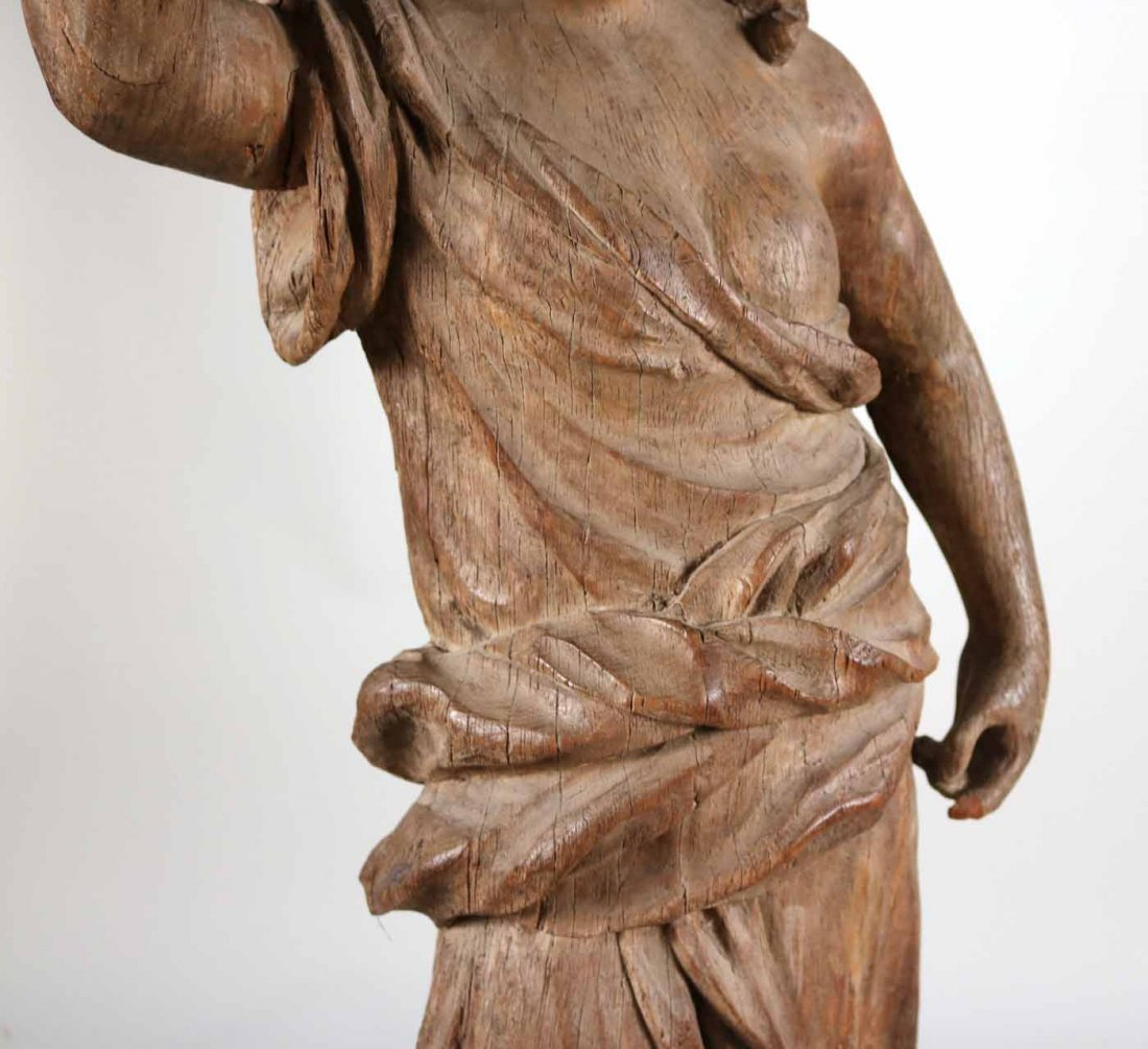 Carved Wood Sculpture of a Classical Woman - 4