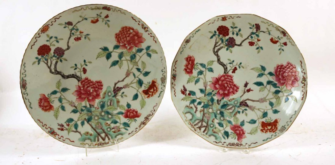 2 Chinese Porcelain Famille Rose Charger Platters