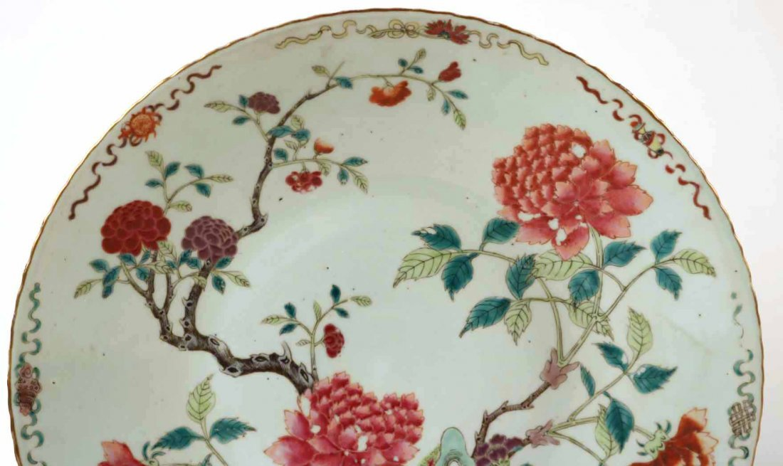 2 Chinese Porcelain Famille Rose Charger Platters - 7