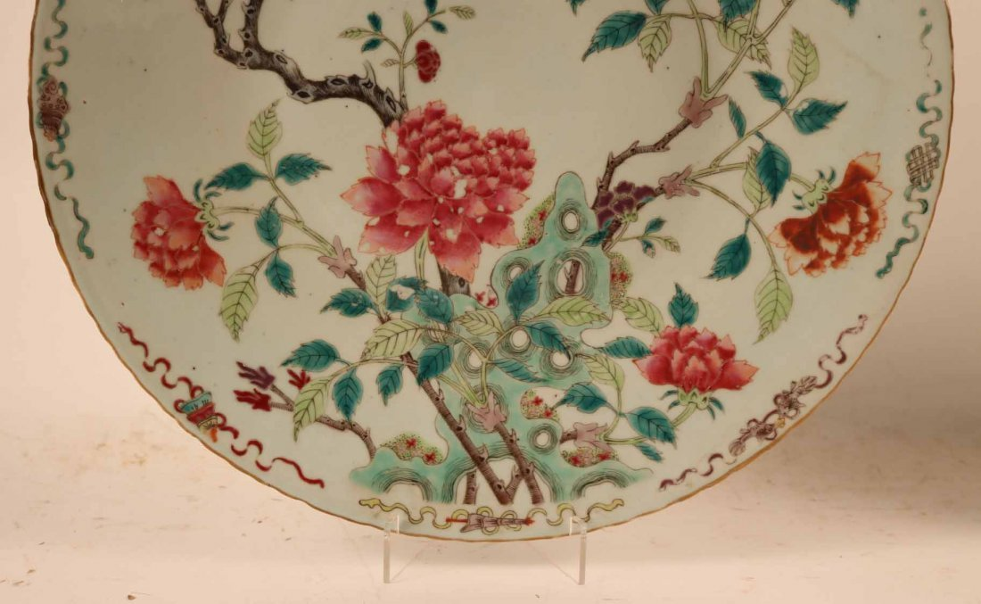 2 Chinese Porcelain Famille Rose Charger Platters - 8